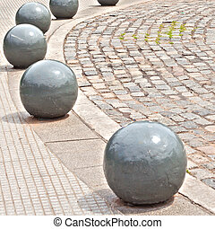 View of the park way with stone balls