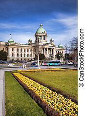 Parliament of the Republic of Serbia in Belgrade - View of...