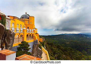 View of the Pena National Palace in Sintra, Portugal