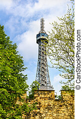 View of the Petrin Lookout Tower in Prague