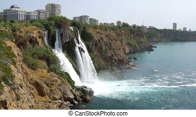 View of the Picturesque Lower Duden Waterfall Falling into the Sea in Antalya, Turkey.