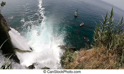 View of the Picturesque Lower Duden Waterfall Falling into the Sea in Antalya, Turkey. Top View