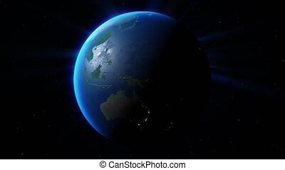 View of the planet Earth. Elements of this image furnished by NASA. 4k Ultra HD. 3D Render. Images from NASA