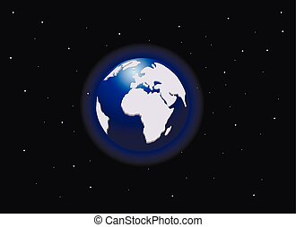 View of the planet earth from space, vector illustration