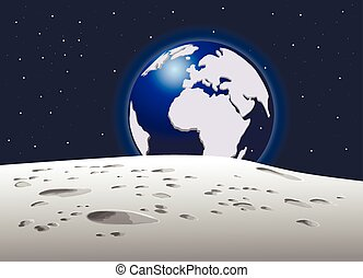View of the planet earth with moon, vector illustration