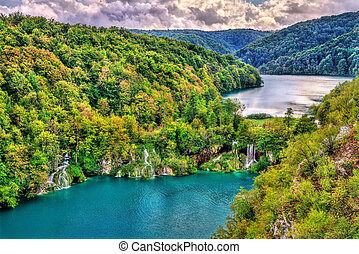 View of the Plitvice Lakes National Park in Croatia