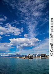 View of the port in Peschiera Del Garda on Lake Garda