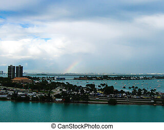 View of the port of Miami in the evening from a bird's ...