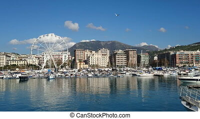 View of the port of Salerno, Italy