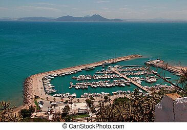 View of the port of Sidi Bou Said, Tunisia