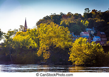 View of the Potomac River and Harper's Ferry, West Virginia.