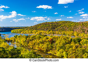 View of the Potomac River from a hilltop in Harper's Ferry, West Virginia.