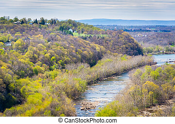 View of the Potomac River from Maryland Heights, in Harpers Ferry, West Virginia.