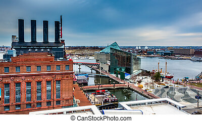 View of the Power Plant and the Inner Harbor from a parking ...