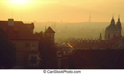 View of the Prague city in morning
