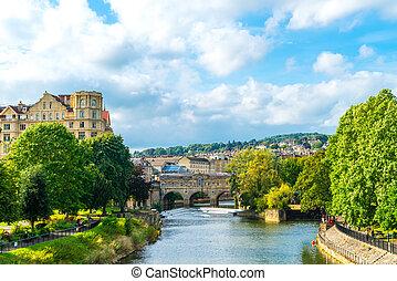 View of the Pulteney Bridge River Avon in Bath, England
