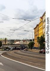 View of the railway bridge from Seifertova street
