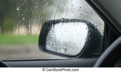 view of the rain from the window of a car