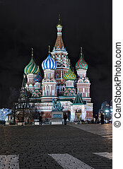 View of the Red Square in night time, Moscow, Russia