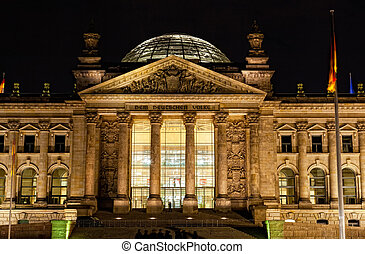 View of the Reichstag with night illumination