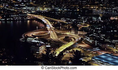 View of the ring road. Night, Bergen, Norway