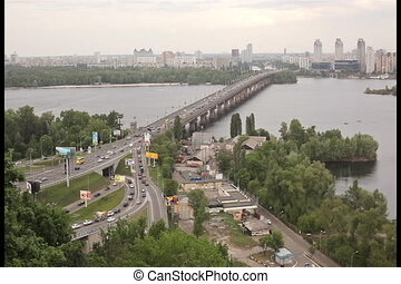View of the river Dnieper with bridge in Kiev