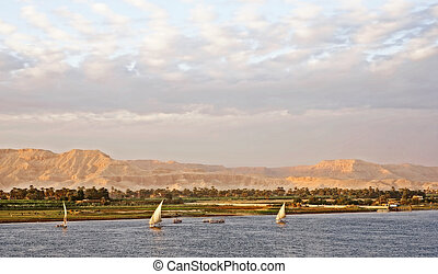 View of the River Nile with sailing fellucas - Traditional...
