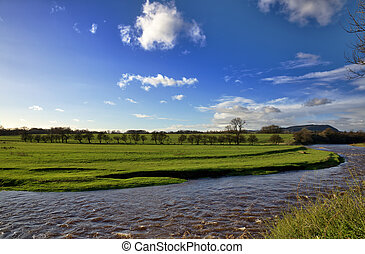 View of the River Ribble and fields, Clitheroe. - A peaceful...