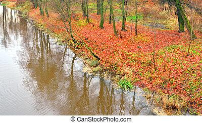 View of the river Slavyanka at autumn.
