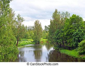 View of the river Slavyanka at summer.