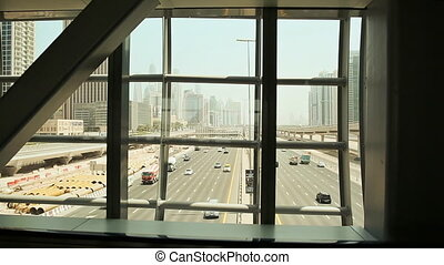 View of the road from the building windows. Dubai.