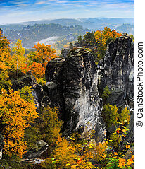 View of the rock formations in eastern Germany Bastei.