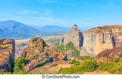 View of the rocks of Meteora, Thessaly, Greece -  Greek ...