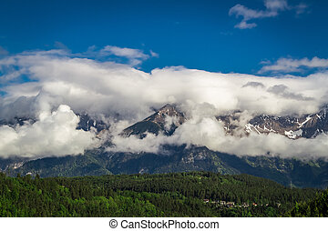 View of the rocky alps in summer