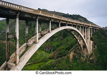 View of the Rocky Creek Bridge, in Big Sur, California.