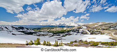 View of the Rocky Mountains from the top of Cottonwood Pass,...
