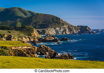 View of the rocky Pacific Coast and Rocky Creek Bridge, in Big Sur, California.