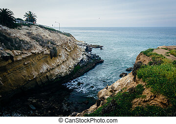 View of the rocky Pacific Coast in La Jolla, California.