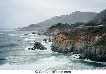 View of the rocky Pacific Coast on a cloudy day in Big Sur, California.