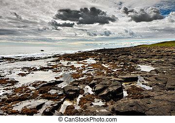 View of the rocky shoreline near Dunstanburgh Castle