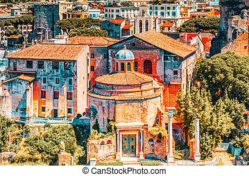 View of the Roman Forum from the Hill of Palatine - a ...