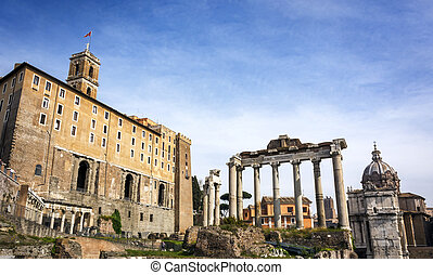 view of the Roman Forums in Rome