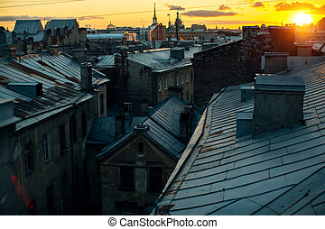 View of the roof of Sankt Petersburg during the famous white nights.
