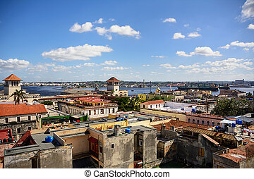 View of the roofs of Havana and the commercial port
