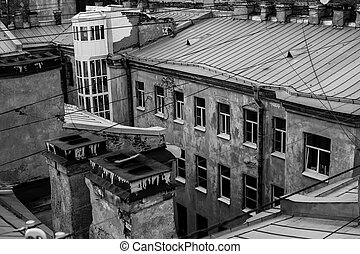 View of the roofs of St. Petersburg. Black and white photo