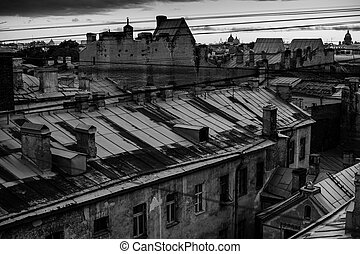 View of the roofs of St Petersburg. Black and white photography.