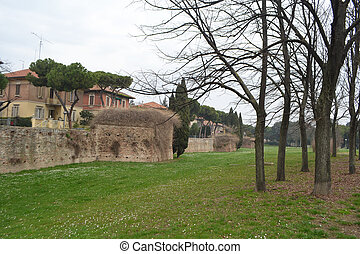 View of the ruined city wall in Rimini, Italy.