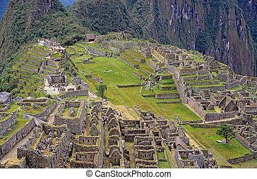 View of the ruins at Machu Picchu, Peru