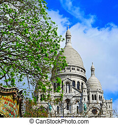 Sacre-Coeur Basilica in Paris, France - view of the...
