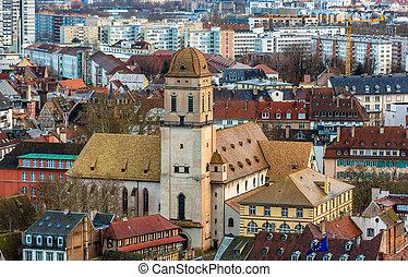 View of the Sainte-Madeleine Church in Strasbourg, France